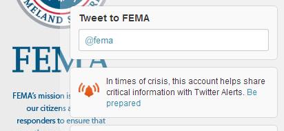 FEMA receive twitter alerts