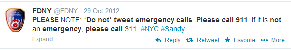 from FDNY twitter: do not tweet emergency calls