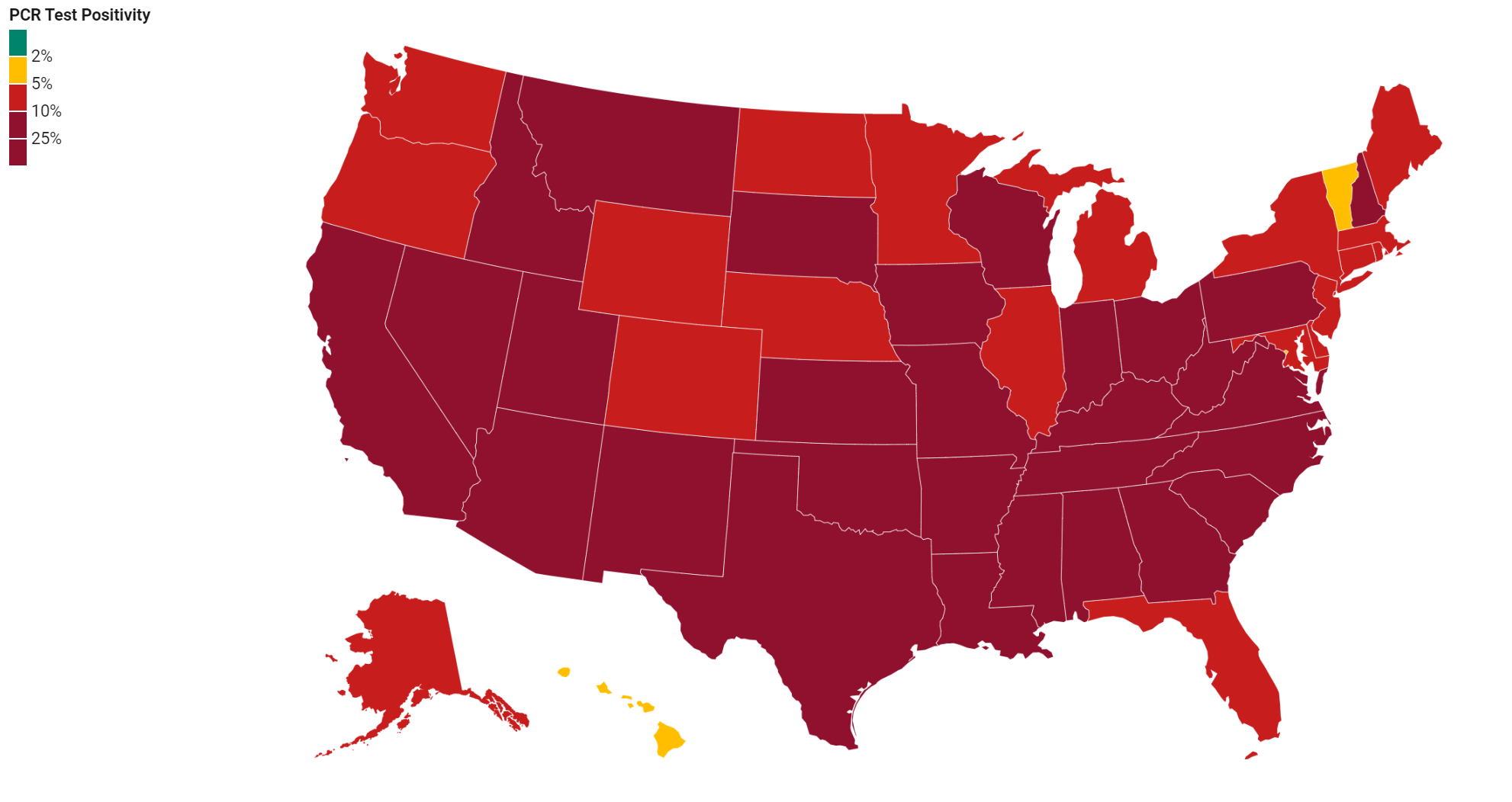 United States map with PCR positivity per state
