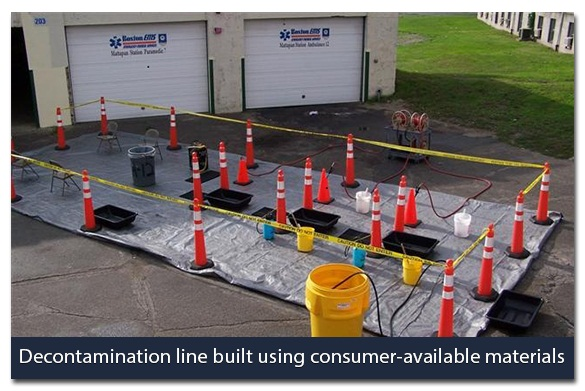 Decontamination line built using consumer-available materials. Commerical inflatable tent. Note separate lanes for ambulatory and non-ambulatory victims